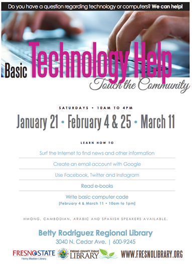 Basic Technology Help flier created by the Fresno County Public Library.