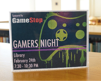 Flier marketing Gamers' Night in the Library.