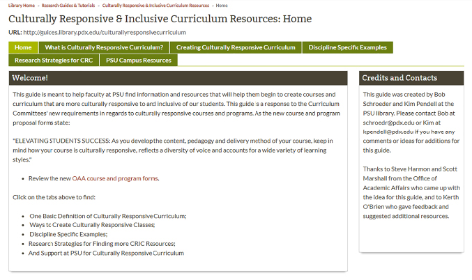 Screenshot of the Culturally Responsive & Inclusive Curriculum Resources homepage.