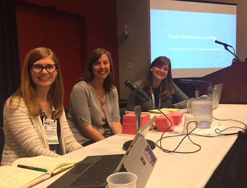 """""""From teaching to leading"""" presenters (left to right): Lauren Pressley, Carrie Donovan, and Rebecca K. Miller."""