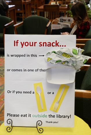 Food policy sign. Courtesy of Genesee Community College.