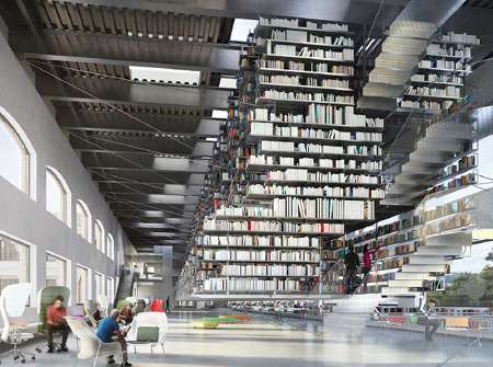 Rendering of the design for the interior of the Cornell Fine Arts Library.