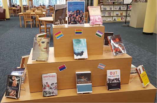 The full LGBT History Month display, highlighting the official LGBT History Month poster, many of the books from the collection development project, and the different flags that represent the subsets within the LGBTQIA movement.