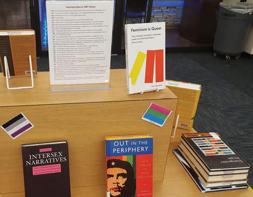 Detail of the LGBT History Month display, showing a display poster that highlighted important dates in LGBT history, as well as some of the books bought for the collection development project.