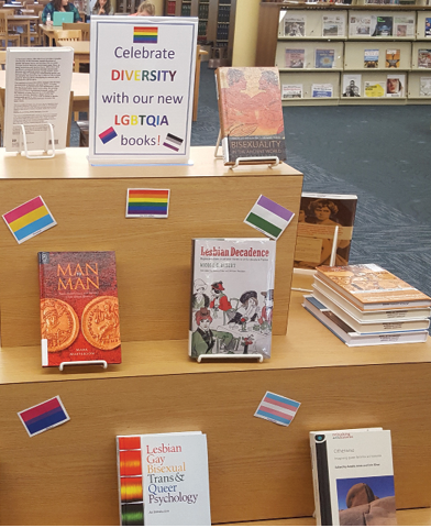 A second LGBTQIA display, highlighting additional materials that came in from the collection development project.