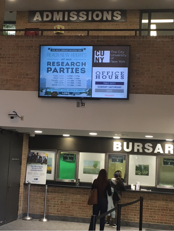 Announcement about the Research Parties events on digital campus signage.