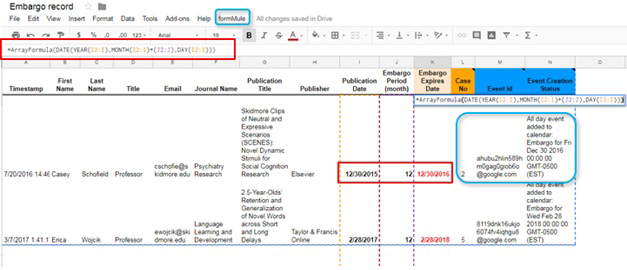 Figure 3: ArrayFormula calculates the embargo expiration date and Google Sheets add-on formMule then simultaneously triggers a Google Calendar event.