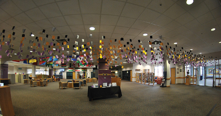 Installation at Miller Library from the East Door. Photo by Michelle Reed.