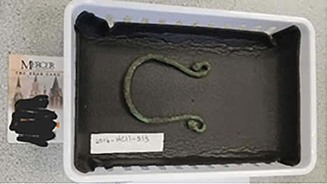 A look at one of the archival objects—a Bronze Horse Control Piece (Roman, 200 B.C.E-400 A.C.E.), used for the second session.