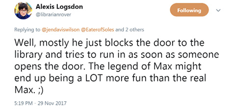Alexis Logsdon, Twitter Post, November 29, 2017.