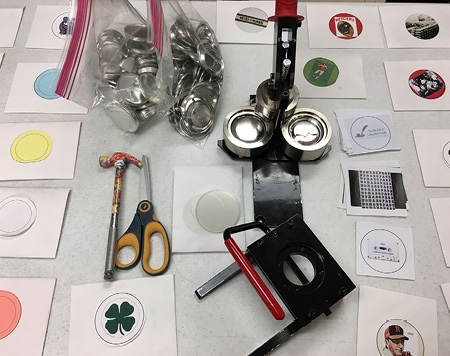 Figure 1. Image of button maker and supplies.