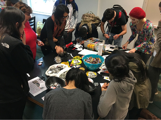Figure 3. Alexander Library button making event for stressbusters fall 2016.