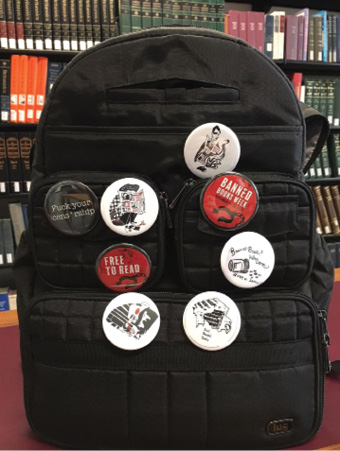 Figure 4. Button images created by Rutgers student printmakers for Banned Books Week 2017.