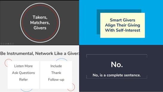 """""""Giving to Get Ahead"""" key slides by Kiyomi D. Deards and Leo S. Lo."""