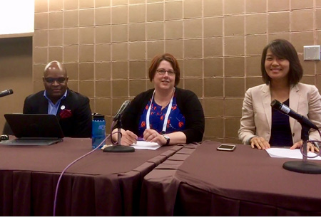 """""""When to speak up, when to listen"""" panelists (left to right): Erik Ponder, Robin Harris, and Michelle Oh."""