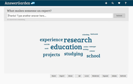 Answer Garden is a text-based brainstorming tool.