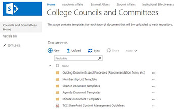 Tulsa Community College Council and Committee SharePoint Site.