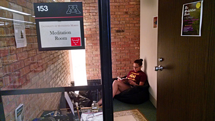 Student using the Briggs Library meditation room.
