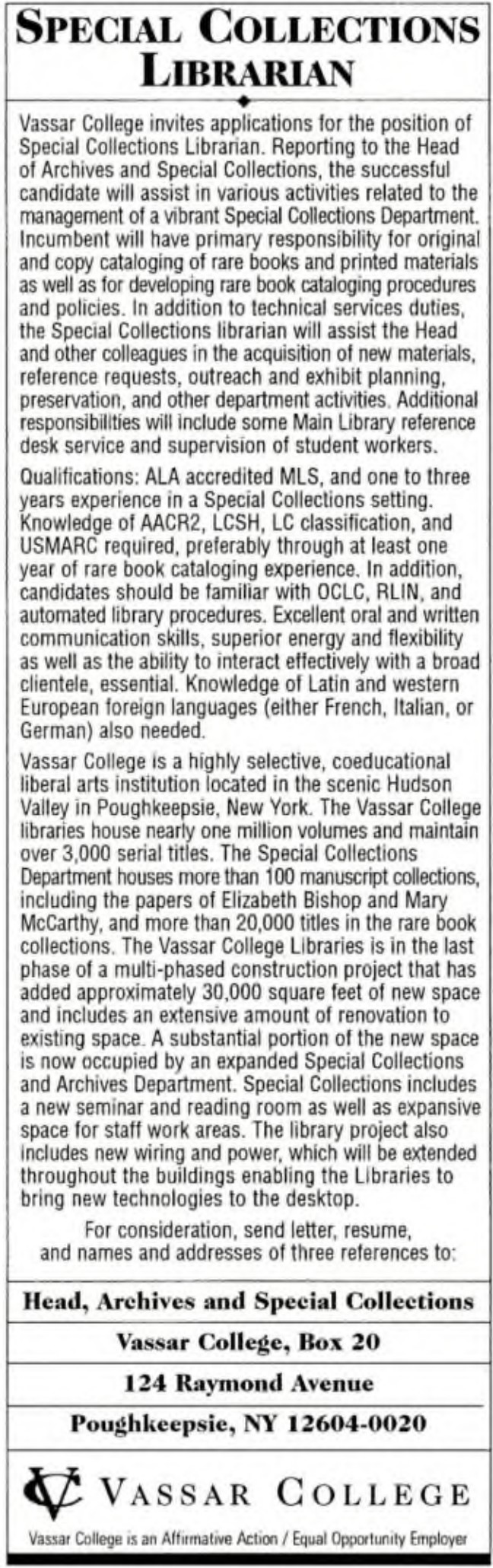 CLASSIFIED Ads | Library Association | College & Research
