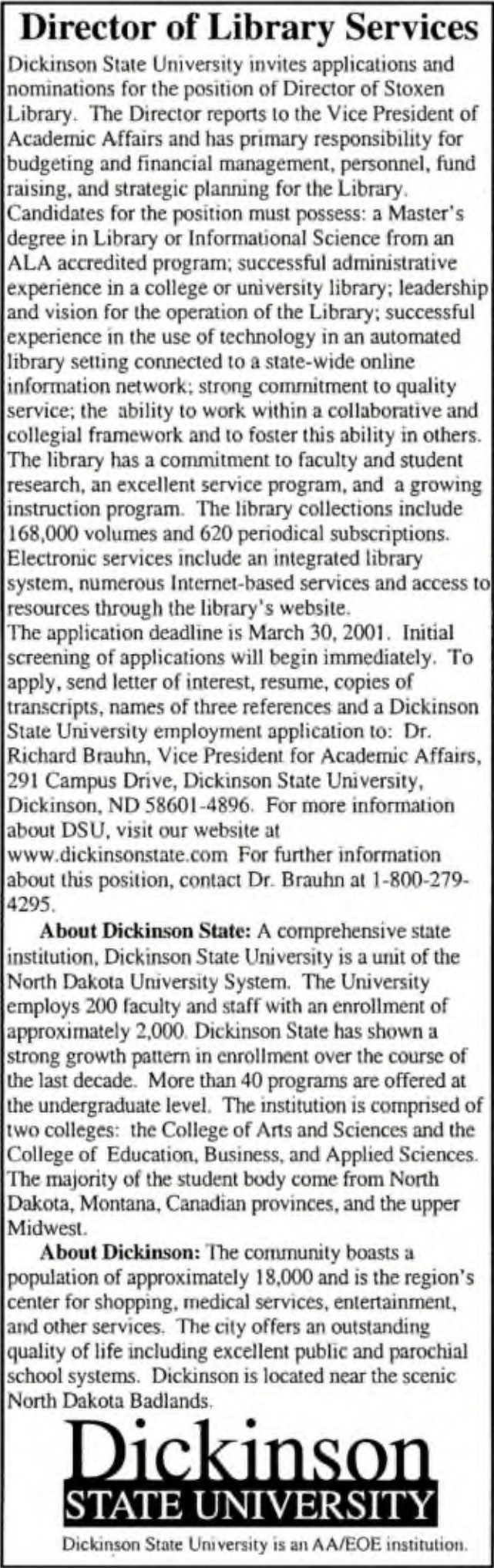 CLASSIFIED Ads   Library Association   College & Research