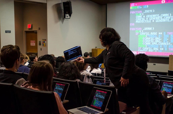 "Students participating in keynote activity, ""Creating 'Retro' Video Games with Lua and PICO-8."""