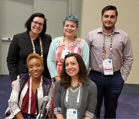 """Moderator and panelists for """"Stay on Target!"""" (back, left to right): Rosan Mitola, Amy Wainwright, Eduardo Martinez-Flores; (front, left to right): Sabine Dantus and Kimberly Shotick."""