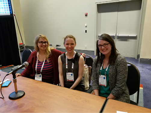 """(Left to right) """"Research Data and Federal Regulations"""" presenters Shannon Farrell, Allison Langham-Putrow, Alicia Kubas."""