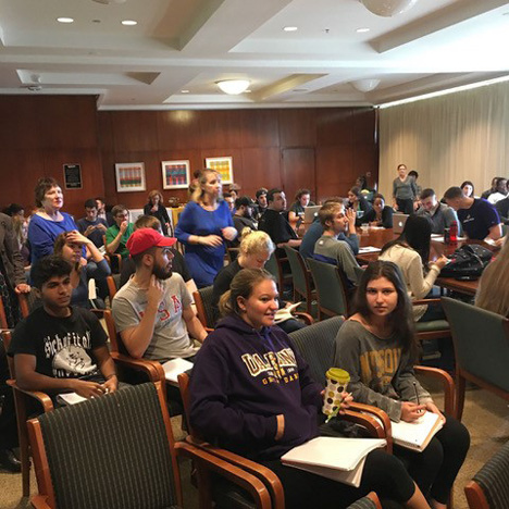 The University at Albany community gathers for a Campus Conversations in Standish presentation in October 2016