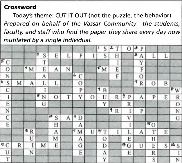 Without A Cross Word One Library S Answer To Torn Out Text Ornunn College Research Libraries News