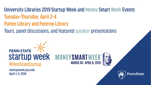 Promotional image for University Libraries Startup Week events at University Park.