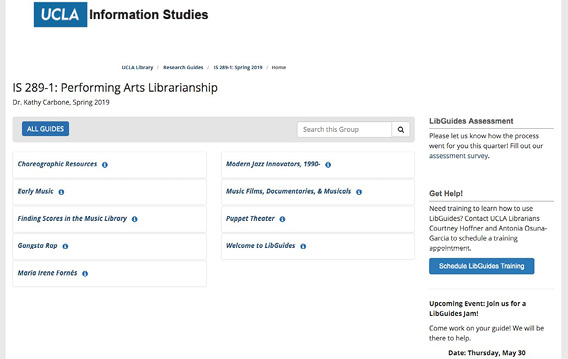 Screenshot of LibGuides homepage for IS-289: Performing Arts Librarianship.