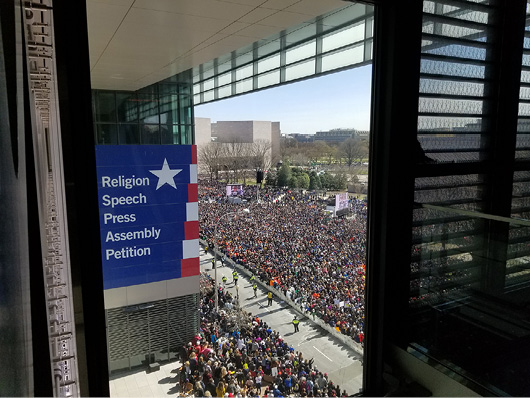 View of the 2018 March for Our Lives demonstration at the Newseum in Washington, D.C.