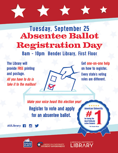 Absentee Ballot Day promotional poster, design by Erica Bethel