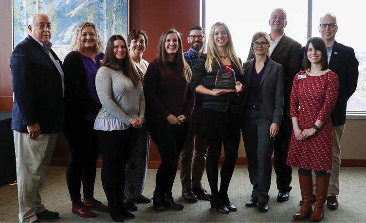 College of Western Idaho Library staff receiving Excellence in Academic Libraries Award.