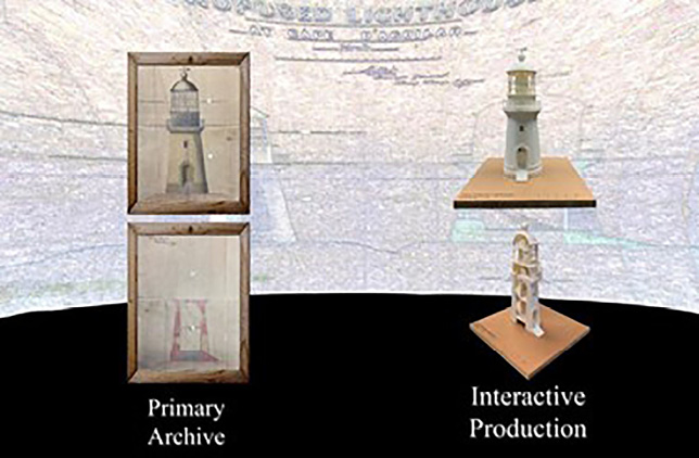 Figure 1. 3-D models of the Cape D'Aguilar Lighthouse (Hong Kong) produced from archival documents (sourced from The National Archive, UK).