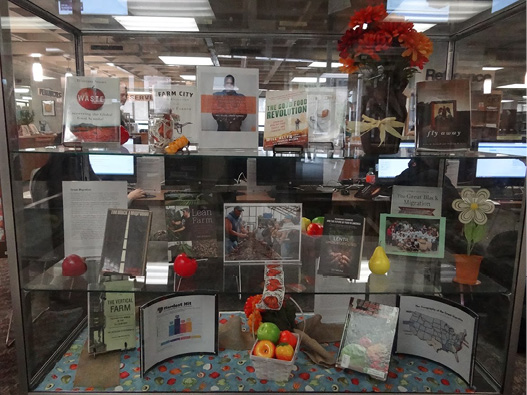 Good Food Revolution Display, QCC Library. Photo by Lawrence Chan, used with permission.