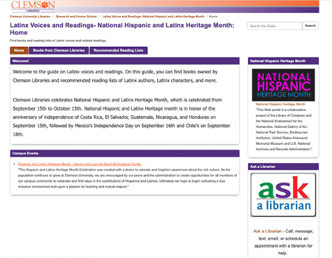 Figure 1. Latinx Voices and Readings LibGuide from Clemson Libraries.
