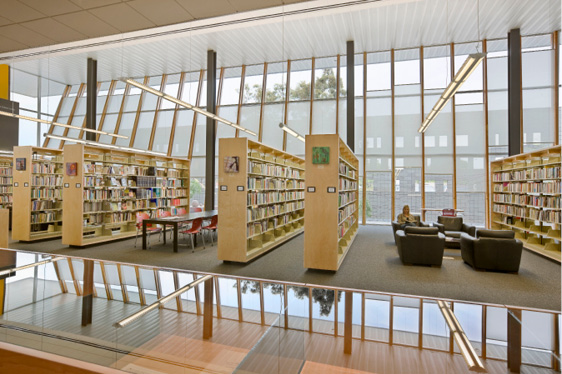 Interior shot of the library. Photo by Robert Reck, 2007