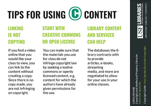 The side of the handout devoted to copyright in instruction included the top tips discussed in the Copyright in Instruction track of the DSS Roadshow.