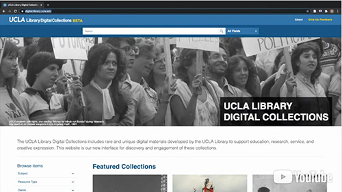 Image 1: A screen capture from one of the tutorials showing the Digital Library homepage. Both tutorials use screen sharing to demonstrate how to use the beta site as a starting-off point for searching the collections