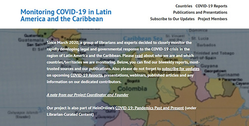 Monitoring COVID-19 in Latin America and the Caribbean project screenshot.