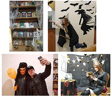 Halloween 2018, students are photographed in the library. ©KNUCA Libraries