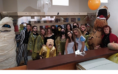 Students participating in the event Halloween – 2019. Photographed by Helen Skachenko. ©KNUCA Libraries