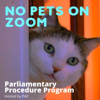 L. Puzier, 2020, No Pets on Zoom: Parliamentary Procedure Program marketing image [digital image]. UAlbany Libraries.